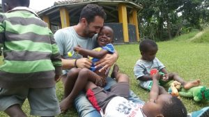 Volunteer with children