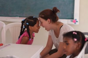 teaching with children in Dominican Republic